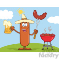 8473 Royalty Free RF Clipart Illustration Happy Mexican Sausage Cartoon Character Holding A Beer And Weenie Next To BBQ Vector Illustration Isolated On White