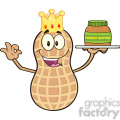 8742 Royalty Free RF Clipart Illustration King Peanut Cartoon Mascot Character Holding A Jar Of Peanut Butter Vector Illustration Isolated On White
