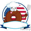 8713 Royalty Free RF Clipart Illustration Chocolate Chef Donut Cartoon Character Over A Circle Blank Label In Front Of Flag Of USA Vector Illustration Isolated On White