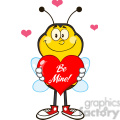 8381 Royalty Free RF Clipart Illustration Smiling Bee Cartoon Mascot Character Holding Up A Red Heart With Text Vector Illustration Isolated On White