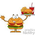8564 Royalty Free RF Clipart Illustration Hamburger Cartoon Character Holding A Platter With Burger, French Fries And A Soda Vector Illustration Isolated On White