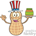8743 Royalty Free RF Clipart Illustration American Peanut Cartoon Mascot Character Holding A Jar Of Peanut Butter Vector Illustration Isolated On White