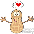 8739 Royalty Free RF Clipart Illustration Funny Peanut Cartoon Mascot Character Thinking Of Love And Wanting A Hug Vector Illustration Isolated On White