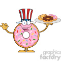 8684 Royalty Free RF Clipart Illustration American Donut Cartoon Character Serving Donuts Vector Illustration Isolated On White