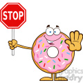 8668 Royalty Free RF Clipart Illustration Smiling Donut Cartoon Character With Sprinkles Holding A Stop Sign Vector Illustration Isolated On White