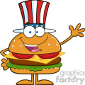 8581 Royalty Free RF Clipart Illustration American Hamburger Cartoon Character With Patriotic Hat Waving Vector Illustration Isolated On White