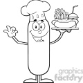 8433 Royalty Free RF Clipart Illustration Black And White Happy Chef Sausage Cartoon Character Carrying A Hot Dog, French Fries And Cola Vector Illustration Isolated On White