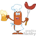 8444 Royalty Free RF Clipart Illustration Happy Chef Sausage Cartoon Character Holding A Beer And Weenie On A Fork Vector Illustration Isolated On White