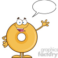 8647 Royalty Free RF Clipart Illustration Funny Donut Cartoon Character Waving Vector Illustration Isolated On White With Speech Bubble