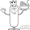 8491 Royalty Free RF Clipart Illustration Black And White King Sausage Cartoon Character Carrying A Hot Dog, French Fries And Cola Vector Illustration Isolated On White