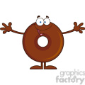 8717 Royalty Free RF Clipart Illustration Chocolate Donut Cartoon Character Wanting A Hug Vector Illustration Isolated On White