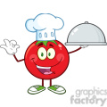 8398 Royalty Free RF Clipart Illustration Tomato Chef Cartoon Mascot Character Holding A Cloche Platter Vector Illustration Isolated On White