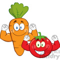 8401 Royalty Free RF Clipart Illustration Carrot And Tomato Cartoon Mascot Characters Showing Muscle Arms Vector Illustration Isolated On White