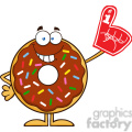 8699 royalty free rf clipart illustration smiling chocolate donut cartoon character with sprinkles wearing a foam finger vector illustration isolated on white gif, png, jpg, eps, svg, pdf