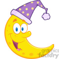Royalty Free RF Clipart Illustration Smiling Cute Moon With Sleeping Hat Cartoon Mascot Character
