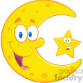 royalty free rf clipart illustration smiling crescent moon and happy litlle star cartoon characters  gif, png, jpg, eps, svg, pdf