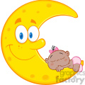 Royalty Free RF Clipart Illustration Cute African American Baby Girl Sleeps On The Smiling Moon Cartoon Characters