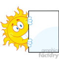 7038 Royalty Free RF Clipart Illustration Smiling Sun Looking Around A Sign Cartoon Mascot Character