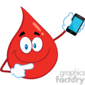 royalty free rf clipart illustration smiling red blood drop cartoon mascot character pointing to a mobile phone gif, png, jpg, eps, svg, pdf