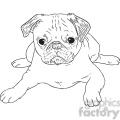 pug dog vector RF clip art images