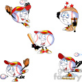 cartoon baseball mascot set  gif, png, jpg, eps, svg, pdf