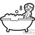 boy taking a bath black and white outline