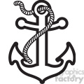 anchor with rope design tattoo illustration black white