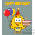 royalty free rf clipart illustration yellow chick cartoon character wearing a party hat and holding balloons and a birthday cake vector illustration greeting card gif, png, jpg, eps, svg, pdf