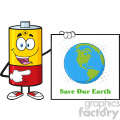 royalty free rf clipart illustration talking battery cartoon mascot character pointing to a sign save our earth vector illustration isolated on white gif, png, jpg, eps, svg, pdf