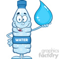 royalty free rf clipart illustration smiling water plastic bottle cartoon mascot character holding a water drop vector illustration isolated on white