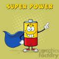 royalty free rf clipart illustration smiling battery cartoon mascot character super hero vector illustration poster with text super power and background gif, png, jpg, eps, svg, pdf