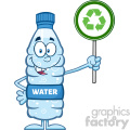 royalty free rf clipart illustration water plastic bottle cartoon mascot character holding up a recycle sign vector illustration isolated on white
