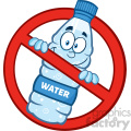 royalty free rf clipart illustration restricted symbol over a water plastic bottle cartoon imascot character vector illustration isolated on white