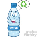 9362 royalty free rf clipart illustration smiling water plastic bottle cartoon mascot character speech bubble vector illustration isolated on white
