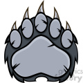 royalty free rf clipart illustration gray bear paw with claws vector illustration isolated on white