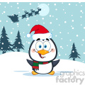 royalty free rf clipart illustration merry christmas greeting with cute penguin cartoon character vector illustration greeting card