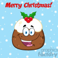 royalty free rf clipart illustration happy christmas pudding cartoon character vector illustration greeting card with text