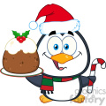 royalty free rf clipart illustration cute penguin cartoon character holding christmas pudding and candy cane vector illustration isolated on white
