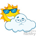 royalty free rf clipart illustration smiling summer sun with sunglasses and grumpy cloud mascot cartoon characters vector illustration isolated on white background