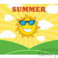 royalty free rf clipart illustration sunshine smiling sun mascot cartoon character with sunglasses over landscape vector illustration with suburst background and text summer gif, png, jpg, eps, svg, pdf