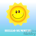 royalty free rf clipart illustration happy sun cartoon mascot character vector illustration with background and text hello summer gif, png, jpg, eps, svg, pdf