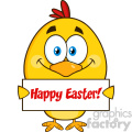 royalty free rf clipart illustration smiling yellow chick cartoon character holding a happy easter sign vector illustration isolated on white