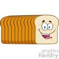 illustration smiling bread loaf cartoon mascot character vector illustration isolated on white background
