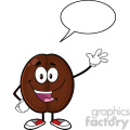 illustration happy coffee bean cartoon mascot character waving with speech bubble vector illustration isolated on white