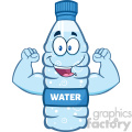 illustration cartoon ilustation of a water plastic bottle cartoon character flexing his muscles vector illustration isolated on white background