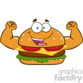 illustration funny burger cartoon mascot character flexing his muscles vector illustration isolated on white background