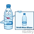 of a water plastic bottle mascot character holding and pointing to a banner with text drink more water vector illustration isolated on white background