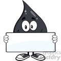 royalty free rf clipart illustration petroleum or oil drop cartoon character holding a blank sign vector illustration isolated on white background