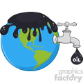 royalty free rf clipart illustration oil pouring over earth with faucet and petroleum drop design with text vector illustration isolated on white background