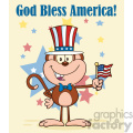 9088 royalty free rf clipart illustration patriotic monkey cartoon character with patriotic usa hat and american flag vector illustration greeting card gif, png, jpg, eps, svg, pdf